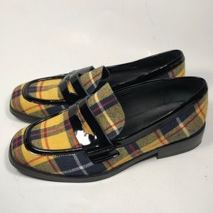 Jeffrey Campbell Patent Hornsby Plaid Loafers 6.5